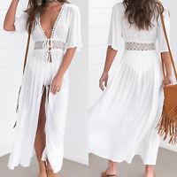 Damen Bikini Cover Up Kleid Kaftan Lang Maxikleid Strandkleid Sommerkleid Weiß
