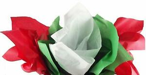 Red, Green & White Christmas Solid Tissue Paper (40 Sheets of Each) 120 Sheets