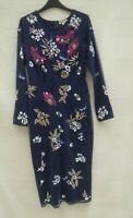 Frock and Frill navy/bird floral butterfly embroid sheer net lined dress Size 10