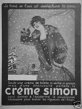 PUBLICITÉ 1924 CRÈME SIMON DE TOILETTE ONCTUEUSE - ADVERTISING