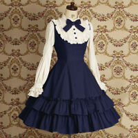 Kawaii Lolita Girl Cotton Flouncing Long Puff Sleeve Dress with Bowknot S-XXL