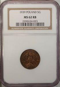 Poland 5 Groszy 1939  NGC MS 62 RB UNC Bronze