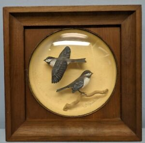 William Reinbold Signed Framed Mini Diorama of a Pair of Birds Chickadees
