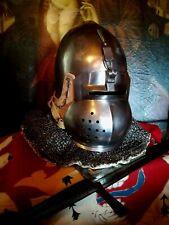 Antico elmo helmet repro xiv 1350 Helme armatura acciaio medievale klapvisor