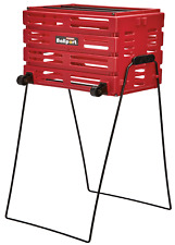 tennis ball pick up hopper with wheels red large capacity holds 80 balls