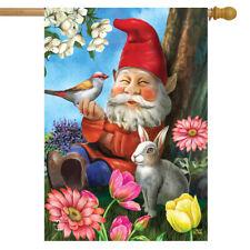 "Garden Gnome Spring House Flag Birds Floral 28"" x 40"" Briarwood Lane"
