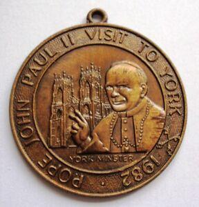 Bronze Pope John Paul II Medal Visit to York 1982 38mm