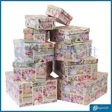 CARDBOARD DECORATIVE STORAGE 10x BOX WITH LIDS LIGHTWEIGHT FLOWER BOXES TOP SALE