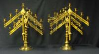 Spectacular Pair of 19th Century Solid Brass Candelabras Dated 1883 & 1893! WOW!