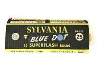 7 Sylvania Blue Dot Super flash Bulbs Press 25 In Package VTG