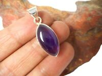 Marquise shaped purple AMETHYST  Sterling  Silver  925  purple Gemstone  PENDANT