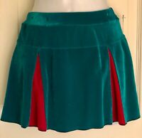 GK ELITE ICE FIGURE SKATE PULL-ON SKIRT ADULT SMALL VELVET GREEN RED Sz AS NWT!