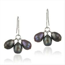 925 Silver Freshwater Cultured Peacock Pearl Cluster Dangle Earrings