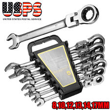 6Pcs 8-17mm Flexible Rotation Open End Ratcheting Wrench Set Workshop Tool
