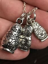 "Russian Doll Charms Qty 3 Matryoshka Nestling Tibetan Silver with 18"" Necklace"