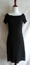 Frank Lyman Little Black Dress Tiered Ruffled Bodycon Stretch Cocktail US 4 UK 6