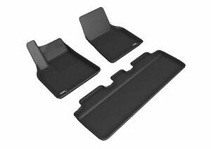 3D Maxpider For 2021 Tesla Model Y All Weather Floor Mat Full Set Kagu Black