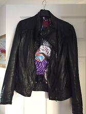 Gorgeous Ted Baker Size 6/8 Black Leather Jacket Lovely Print Lining
