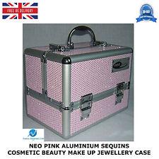 NEO PINK ALUMINIUM SEQUINS COSMETIC BEAUTY VANITY MAKE UP JEWELLERY SALOON CASE