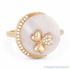 Cocktail Ring in 14k Rose Gold 2.06 ct Mother-of-Pearl Diamond Right-Hand Circle