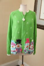Cute Ugly Christmas Sweater Green Snowman Snowflake Cardigan Zip Front Holiday