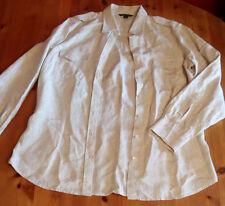 Lands End Ladies Long Sleeve Stone Blouse Shirt UK Size 10 12 M Medium VGC