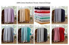 Throw Blanket (50x60 Inch Set of 2) 100% Luxurious Cotton Diamond Excel Hometex