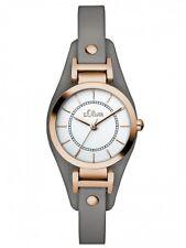 s.Oliver Damenuhr Uhr Armbanduhr Leder Grau Rosé SO-2963-LQ