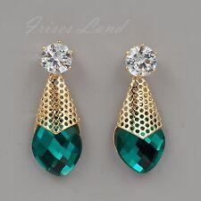18K Gold Plated GP Green Crystal Rhinestone Clear CZ Drop Dangle Earrings 09282