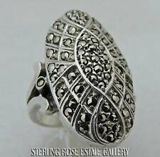 MARCASITE Sterling Silver Estate PICTURESQUE COCKTAIL BAND RING size 6.25
