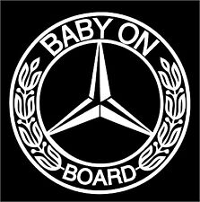 A baby on board sticker, Mercedez Benz style, vinyl cut sticker glossy white.