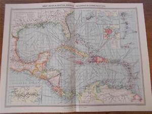 Antique c1904 Colour Maps WEST INDIES CENTRAL AMERICA INDUSTRIES COMMUNICATIONS
