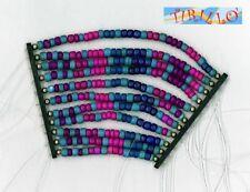 BIGIOTTERIA - Elemento a fili di perline di legno - viola e turchese