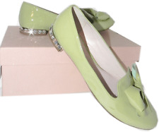 Miu Miu-Prada Lime Patent Leather Bow Ballet Flat Ballerina Shoe 40.5-10 Crystal