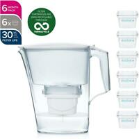 Aqua Optima Liscia Evolve+ Plus Water Filter Jug 2.4L + 6 Month Cartridges Pack