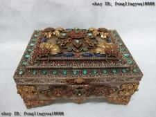 Tibet Silver 24k Gild inlay Lapis lazuli turquoise Red coral Casket jewelry Box