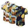 Mens Pineapple Floral Print Shirts Tops Casual Short Sleeve Hawaiian Beach Shirt