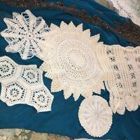 Lot of 5 Vintage Handmade Crocheted Doilies Ecru Asst Size Scallop Shelf Granny