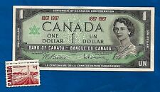 1867 1967 CANADA Canadian CENTENNIAL UNC one 1 DOLLAR BILL NOTE + MNH stamp