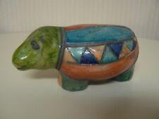 Hippo Figurine Handmade In Botswana Green Blue Triangles Great Gift