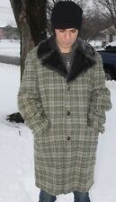 Vintage Woolrich Men's Wool Plaid Car Coat Overcoat Faux Fur Collar Lining 42