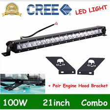 "100w 21"" Slim LED Light Bar+Hood Mounting Bracket For 2007-2018 Jeep Wrangler JK"