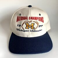 Vtg 1997 Michigan Wolverines Snapback Hat National Champs Football Embroidered