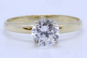 14K Solid Yellow Gold Round Cubic Zirconia CZ Solitaire Engagement Ring sz 5.75