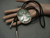 BIG VINTAGE NAVAJO TURQUOISE CORAL THUNDERBIRD sterling SILVER BOLO TIE