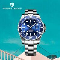 Pagani Design 1639 10 ATM Men's Japan Automatic Mechanical Watch All Steel Blue