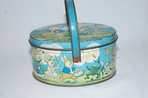 1920's Peter Rabbit on Parade Tin Litho Oval Candy Pail Easter By Tindeco