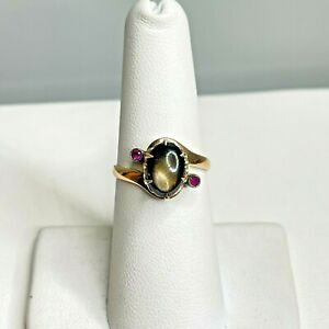 Antique 10k Yellow Gold Black Star Sapphire and Ruby Ring