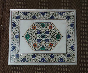 Square White Marble Coffee Table Top Floral Inlaid Pietradura Art Outdoor Decor