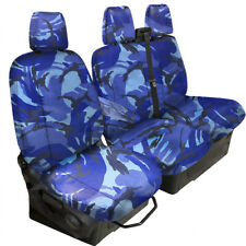 FULLY TAILORED HEAVY DUTY BLUE CAMO VAN SEAT COVER fo FORD TRANSIT CUSTOM 2013on